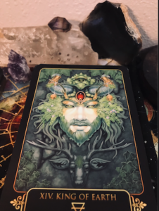King of Earth Dreams of Gaia Tarot Card and Crystals